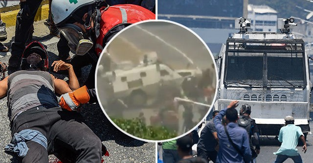 Venezuela's Tiananmen: Camera Catches Armored Military Vehicle Plowing into Protesters
