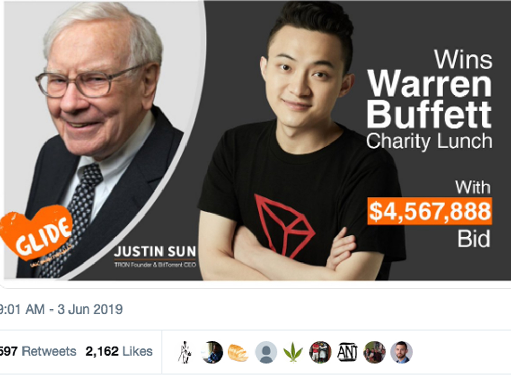 Cryptocurrency pioneer (he's 28) pays $4.57 million to have lunch with Warren Buffett who once called Bitcoin 'probably rat poison squared'