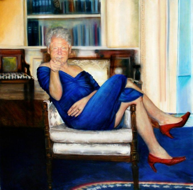inside-epstein's-mansion:-painting-of-bill-clinton-wearing-a-blue-dress,-red-heels,-lounging-in-oval-office