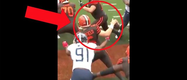 baker-mayfield-takes-monster-hit-against-the-tennessee-titans-for-a-safety