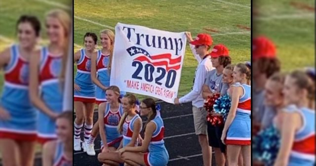 """cheerleaders-punished-for-displaying-""""trump-2020-maga""""-banner"""