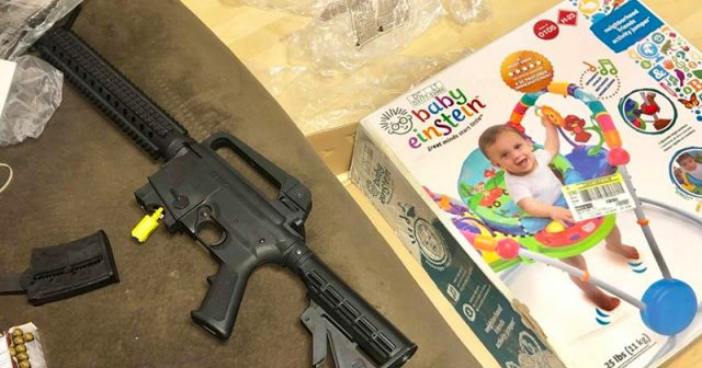 couple-finds-rifle-inside-baby-bouncer-box-bought-at-goodwill