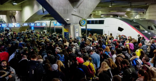 """france's-national-train-system-""""grinds-to-a-halt""""-as-massive-protests-continue"""