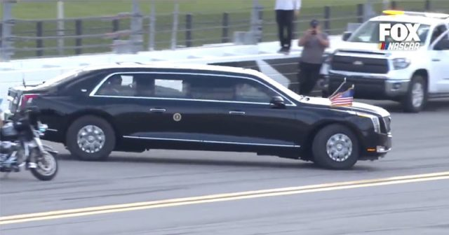 watch:-trump-makes-appearance-at-daytona-500,-takes-lap-around-track-in-'beast'-limo