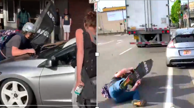 watch-–-portland-'peaceful'-protester-hits-the-road-after-trying-to-block-a-car