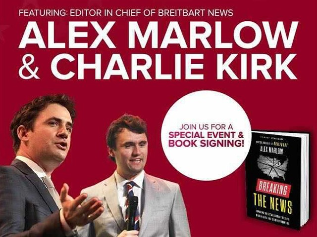 watch-live:-event-and-book-signing-with-'breaking-the-news'-author-alex-marlow-and-tpusa's-charlie-kirk