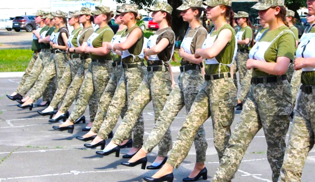 'idiotic':-fury-in-ukraine-after-female-soldiers-made-to-march-in-heels