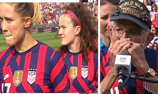 disgraceful:-us-women's-soccer-team-members-turned-away-from-flag-as-98-year-old-wwii-vet-played-the-national-anthem-(watch-&-listen)