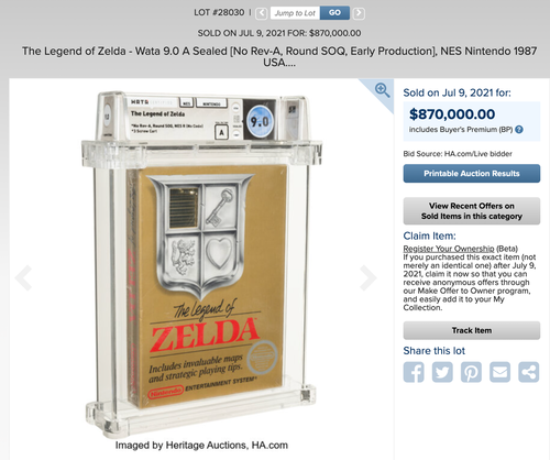 """the-legend-of-zelda-video-game-sells-for-""""world-record""""$870,000-at-auction"""