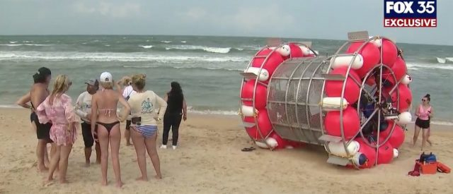 man-in-bubble-running-on-water-from-florida-to-new-york-washes-up-on-shore